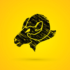 Sheep head with big horns designed using grunge brush graphic vector.