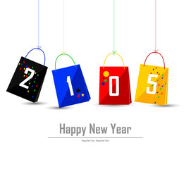 happy new year 2015 background with set shopping bag