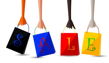 Sale icon with shopping bag set