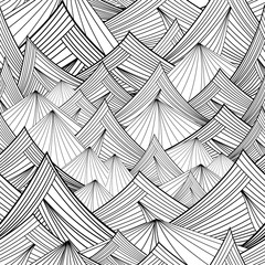 black and white vector seamless pattern of mountain