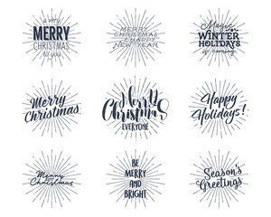 Set of Christmas , New Year 2017 lettering, wishes, sayings and vintage labels. Season's greetings calligraphy. Holiday typography design. Vector isolated. Letters composition with sun bursts.