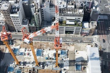 建物 高層マンション 高層ビル建築現場 イメージ 俯瞰撮影
