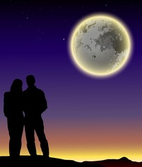 Silhouettes of man and woman on full moon  background