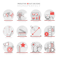 Infographics Icons Elements about Production. Flat Thin Line Icons Set Pictogram for Website and Mobile Application Graphics.