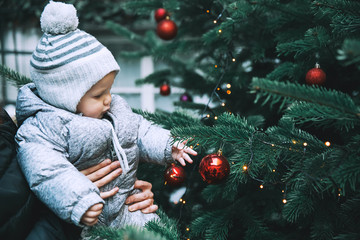 Happy family spend time at a Christmas and New Year holidays