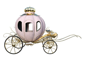 3D Rendering Cinderella Carriage on White