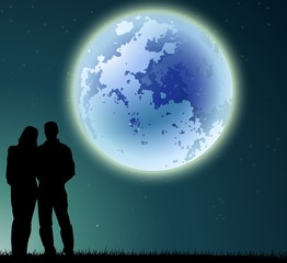 man and woman silhouette on night background