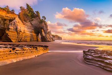 Printed roller blinds Deep brown Sunset on a rocky beach in Taranaki district, New Zealand