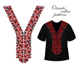Design for collar shirts, shirts, blouses, T-shirt. Black and golden colors ethnic flowers neck. Paisley decorative border