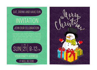 Invitation on Christmas party with date and time. Cute snowman in scarf, hat and gloves with wrapped gifts cartoon vector. Merry Christmas and happy New Year greetings. Xmas holiday fun celebrating