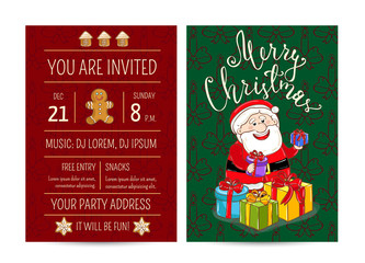 Invitation on Christmas party with date and time. Cheerful Santa, wrapped gifts, gingerbread cookies cartoon vector. Merry Christmas and happy New Year greetings. Xmas fun. Winter holidays celebrating