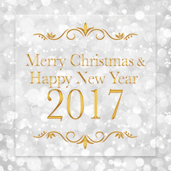 Merry Christmas and Happy New Year 2017 words on glitter bokeh b