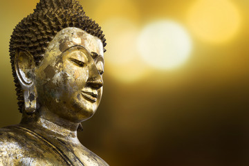 Selective focus point on Buddha statue.