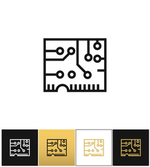 Electronics computer circuit chip vector icon