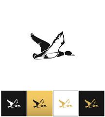 Flying duck silhouette or hunting target vector icon