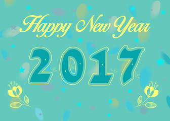 Happy New Year 2017 with yellow flowers