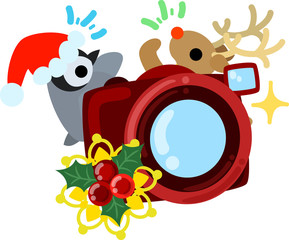 The cute illustration of Christmas -A penguin and a reindeer and a camera-