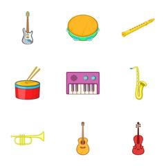 Tools for music icons set. Cartoon illustration of 9 tools for music vector icons for web