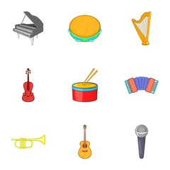 Musical tools icons set. Cartoon illustration of 9 musical tools vector icons for web