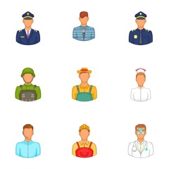 Specialty icons set. Cartoon illustration of 9 specialty vector icons for web