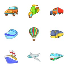 Transport icons set. Cartoon illustration of 9 transport vector icons for web