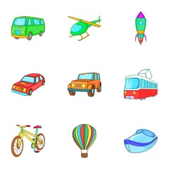 Types of transport icons set. Cartoon illustration of 9 types of transport vector icons for web