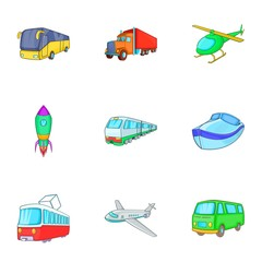 Variety of transport icons set. Cartoon illustration of 9 variety of transport vector icons for web