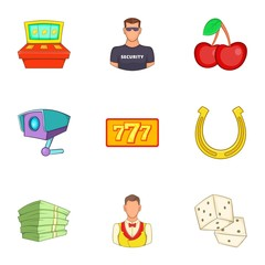 Casino icons set. Cartoon illustration of 9 casino vector icons for web
