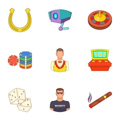 Win icons set. Cartoon illustration of 9 win vector icons for web