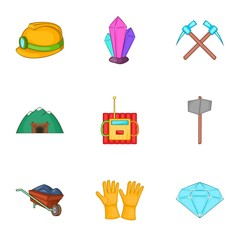 Coal mining icons set. Cartoon illustration of 9 coal mining vector icons for web