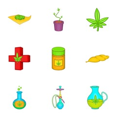Weed icons set. Cartoon illustration of 9 weed vector icons for web