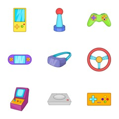 Play console icons set. Cartoon illustration of 9 play console vector icons for web