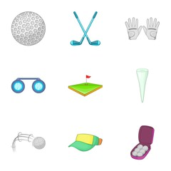 Active golf icons set. Cartoon illustration of 9 active golf vector icons for web