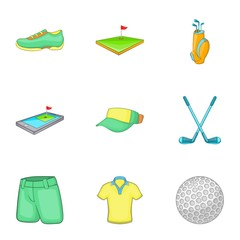 Sport golf icons set. Cartoon illustration of 9 sport golf vector icons for web