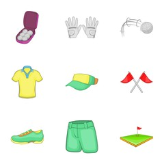 Training golf icons set. Cartoon illustration of 9 training golf vector icons for web
