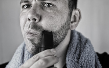Acrylic Prints monochrome textured portrait bearded man shaving