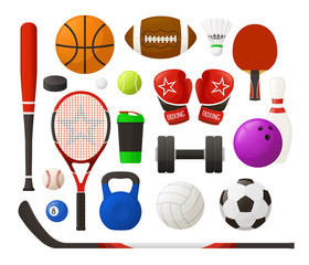 Vector illustration. Set of sport equipment in simple design. Collection of sport inventory. Kit of sports stock. Realistic flat design