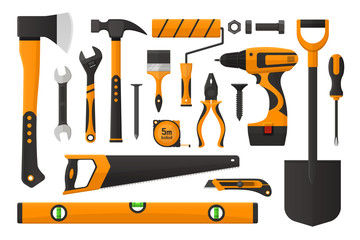 Vector illustration. Set of work tools in simple design. Set of working instrument. Set of toolbox. Realistic flat design