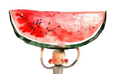 watercolor cartoon illustration, boy, watermelon