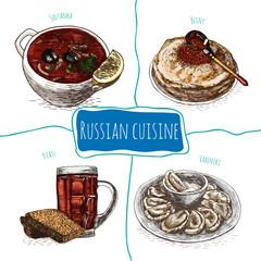 Menu of Russia colorful illustration.