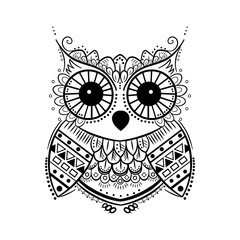 black and white graphic owl