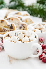 hot chocolate with marshmallows and Christmas baking, vertical