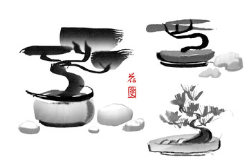 """Set of Bonsai pine trees hand-drawn with ink in traditional Japanese style sumi-e. Image contains hieroglyphs """"love"""" and """"luck"""". Illustration isolated on a white background."""