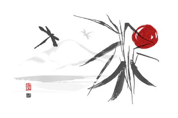 Wild orchid around the river and dragonfly. Sunset. Traditional Japanese ink painting sumi-e on white background. Contains hieroglyphs - Flower and Love