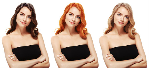 Coloring hair woman set different colores