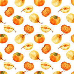 Watercolor persimmon, pear hand drawn illustration isolated on white background, seamless pattern exotic food, organic tropical fruit, decorative texture for design restaurant menu, harvest festival