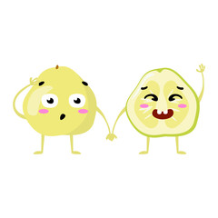 pomelo. Cute fruit vector character couple isolated on white background. Funny emoticons faces. Vector illustration. Vector clip art.