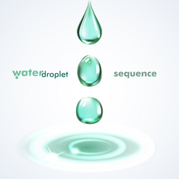 Shiny water droplets falling sequence. Vector illustration