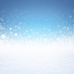 Winter snow background on blue