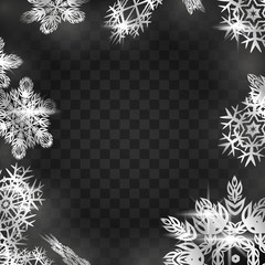 Winter frame with snowflakes on black background.